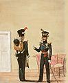 Königlich Württembergische Landjäger (Gendarmerie) um 1840. Links ein Landjäger, rechts ein Hauptmann.jpg