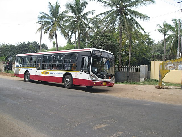 A low-floor Tata Marcopolo Bus belonging to the Karnataka State Road Transport Corporation -Mysore City Transport Department.