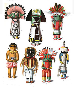 Hopi mythology - Drawings of kachina dolls from an 1894 anthropology book.