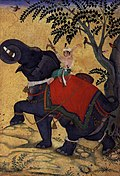 Kaisar Mughal, Akbar yang Agung, menunggangi gajah perang. Gambar dari tahun 1609/1610