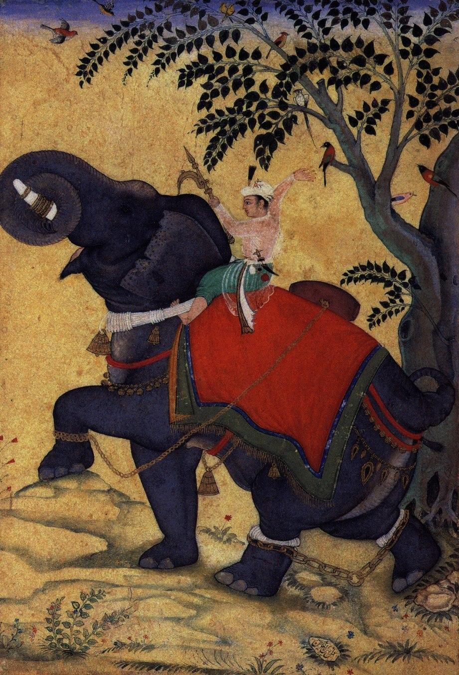 Kaiser Akbar b%C3%A4ndigt einen Elefanten