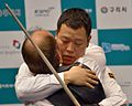 Kang hugging Sanchez, 3-Cushion World Cup 2013-2 in Guri ©EM.jpg