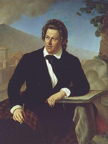 К.П.Брюллов на картине Ф.С.Завьялова, 1844г.