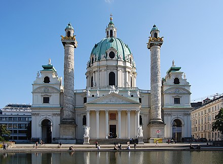 Karlskirche, located on the south side of Karlsplatz in the 1st city district Karlskirche Wien September 2016.jpg