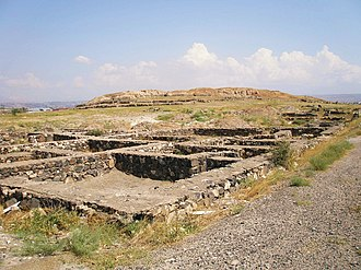 Foundations of Teishebaini building commenced in mid-7th century BC Karmir Blur Town.JPG