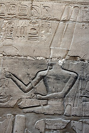 The god Amun in Karnak. Karnak temple, Grosser Saulensaal 9512.JPG