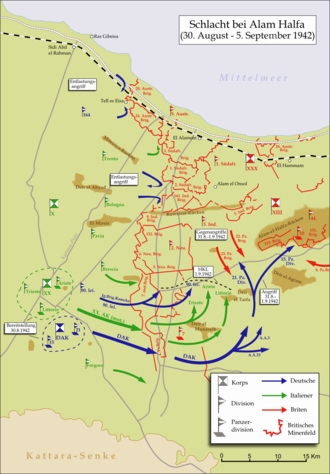 Battle of Alam el Halfa - Map of the battlefield (in German)