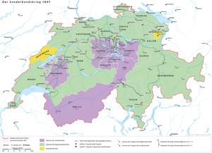 Karta över Sonderbund-kriget 1847