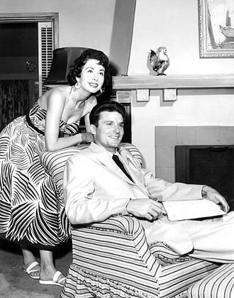 Keith Larsen - Larsen with wife Susan at home, 1954.