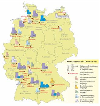 Atomkraftwerke Deutschland Karte.Liste Der Kernreaktoren In Deutschland Wikipedia