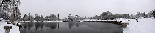 Kew Gardens covered by snow