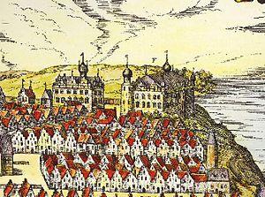 Kiel Castle - Schloss Kiel im 16. Jahrhundert, zu sehen sind der Flügel von Friedrich I. links und der Renaissancebau Adolfs I. rechts - fälschlicherweise mit einem großen, statt vier kleinen Dächern dargestellt. Stich von Georg Braun und Frans Hogenberg