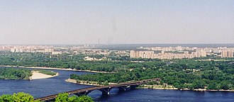 Dniprovskyi District, Kiev - View of the left-bank Kiev and the Dnieper River. Background high-rise buildings in the right are in the Dniprovskyi Raion.