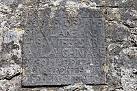 Kilmacduagh Cathedral Plaque James Mulane and Sara Laughnane 1709 2015 08 31.jpg