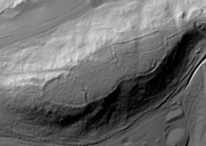 King's Castle, Wells - Lidar digital terrain model of King's Castle