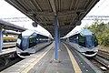 Kintetsu Limited Express trains at Kashikojima Station 2015-02-27 (16669627282).jpg