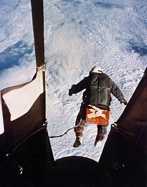 Free fall - Joseph Kittinger starting his record-breaking skydive in 1960. His record was broken only in 2012.
