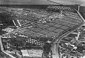 Kløvermarken - The refugee camp seen from the air