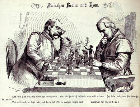 Tensions between Germany and the Catholic Church hierarchy as depicted in a chess game between Bismarck and Pope Pius IX. Between Berlin and Rome, Kladderadatsch, 1875 Kladderadatsch 1875 - Zwischen Berlin und Rom.png