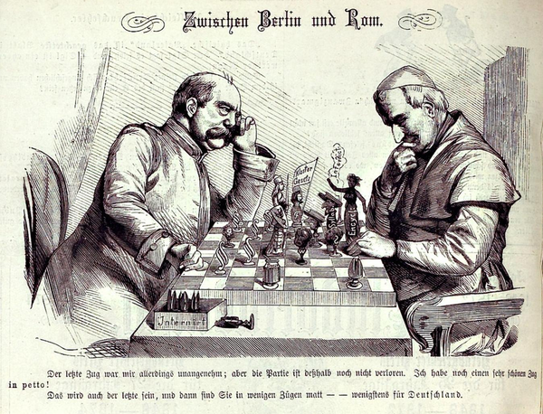 Tensions between Germany and the Catholic Church hierarchy are depicted in a chess game between Bismarck and Pope Pius IX.