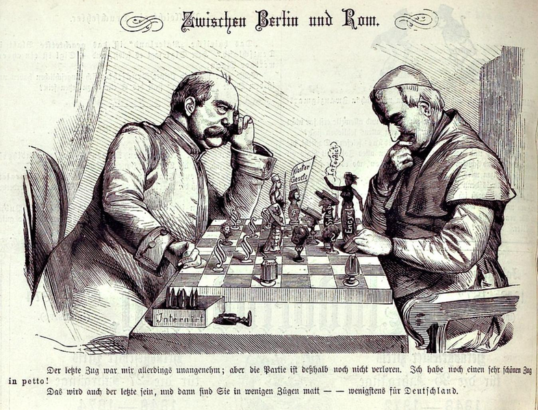 """Caricature """"Between Berlin and Rome"""" from Kladderadatsch, 16 May 1875."""