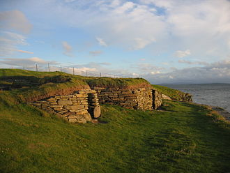 Demography of Scotland - Stone houses at Knap of Howar, evidence of a settled agricultural population and the beginnings of demographic growth, c. 3500 BC