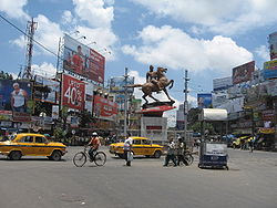 Shyambazar five – point crossing with statue of Netaji Subhas