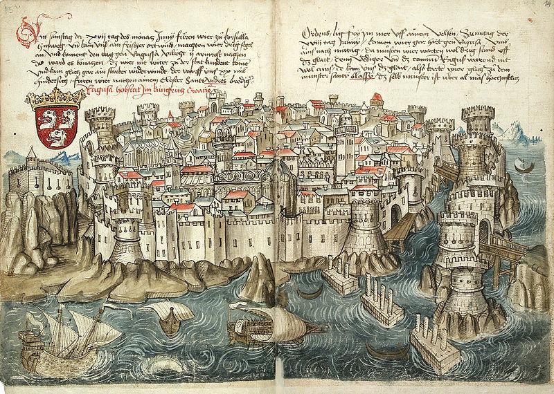 File:Konrad von Grünenberg - Beschreibung der Reise von Konstanz nach Jerusalem - Blatt 13v-14r.jpg