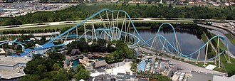Kraken (roller coaster) - An overview of Kraken in 2007, showing the ride as it looked prior to Mako's construction on the opposite side of the lake
