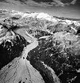 Kukak Glacier, terminus of valley glacier and braided streams, August 26, 1969 (GLACIERS 7019).jpg