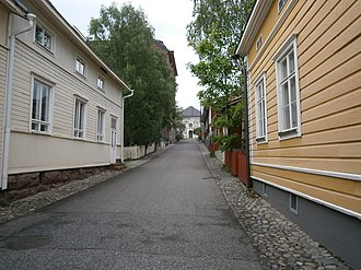 Kuopio - Rännikatu called Lapinlinnankatu. Rännikatus are narrow, usually pedestrian, streets in Kuopio city center.