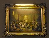 Framed painting with glare from artificial lighting