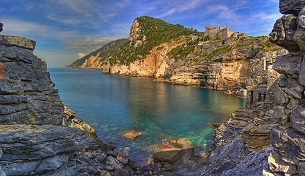 """Byron's Grotto"" in Porto Venere, Italy, named in his honour, because according to a local legend he meditated here and drew inspiration from this place for his literary works. La Grotta di Byron.jpg"