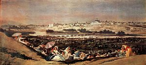 A Pilgrimage to San Isidro - The Meadow of San Isidro, 44 × 94 cm (1788). Museo del Prado