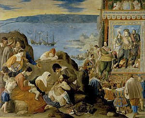 "Fadrique de Toledo, 1st Marquis of Villanueva de Valdueza - The recuperation of 1 May 1625 of the Brazilian Portuguese town of Salvador de Bahia by Spanish and Portuguese troops commanded by Captain General of the Fleet Fadrique II de Toledo Osorio y Mendoza, a painting by Fray Juan Bautista Maíno for King Philip IV of Spain, Philip III of Portugal. Museo del Prado, Madrid, Spain. Don Fadrique II is the big ""en bonpoint"" nobleman presenting it to King Philip IV and Prime Minister Gaspar de Guzmán, Count-Duke of Olivares."