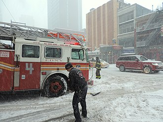 January 2016 United States blizzard - Emergency services in New York City, such as the fire department (pictured), functioned during the snowstorm