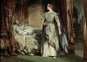 King Duncan - Lady Macbeth at the bedside of King Duncan (Lady Macbeth by George Cattermole, 1850)