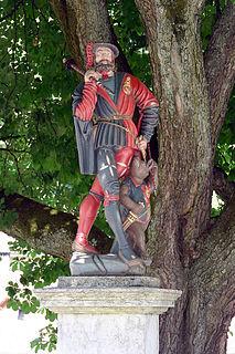figure fountain from the 16th century on the Läuferplatz in the city of Bern, Switzerland