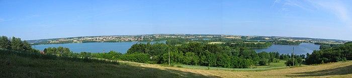 Kashubian Landscape Park, View from Tamowa Mountain, near Kartuzy and Lakes Kłodno, Białe, and Rekowo.