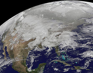 2010–11 North American winter - Satellite image of the storm developing on January 31st