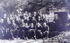 Lawson Adit - Dean Andrew Lawson (far right) and 1917 School of Mining students sitting in front of the mouth of Lawson Adit.