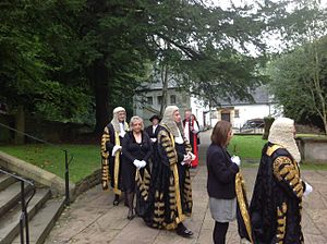 Judiciary of England and Wales - Three Lords Justices in their ceremonial robes in procession at Llandaff Cathedral in 2013