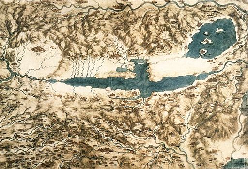 Leonardo da vinci, Map of Tuscany and the Chiana Valley