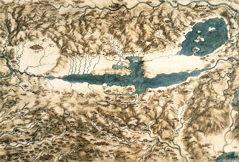 File:Leonardo da vinci, Map of Tuscany and the Chiana Valley.jpg