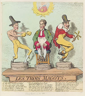 "Richard Barry, 7th Earl of Barrymore - Richard ""Hellgate"" Barry and his brothers Augustus ""Newgate"" Barry and Henry ""Cripplegate"" Barry in a 1791 caricature by James Gillray. The Prince of Wales is portrayed in the background."