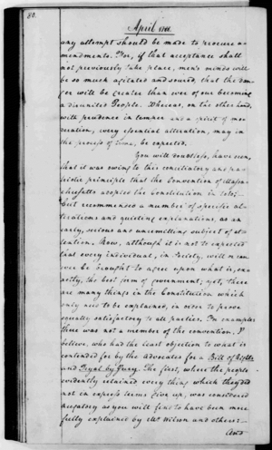 "United States Bill of Rights - George Washington's 1788 letter to the Marquis de Lafayette observed, ""the Convention of Massachusetts adopted the Constitution in toto; but recommended a number of specific alterations and quieting explanations."" Source: Library of Congress"
