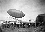 Lincoln Beachy and his dirigible launching from the Aeronautic Concourse at the Lewis and Clark Exposition, Portland, Oregon (AL+CA 1874).jpg
