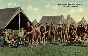Fort Sam Houston - Line up for chow in camp at Fort Sam Houston
