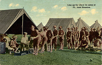 Fort Sam Houston - Line up for chow in camp at Fort Sam Houston