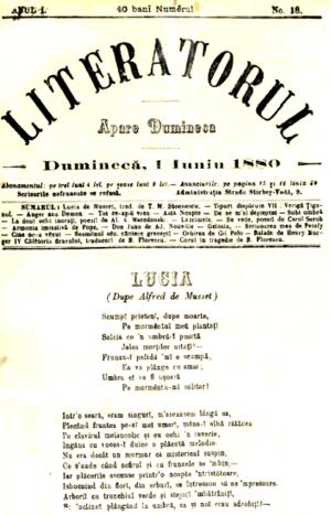 Bonifaciu Florescu - Literatorul of June 1, 1880, featuring Floescu's essay on the Greek chorus and translations from Henri Murger, alongside poetry by Macedonski, Th. M. Stoenescu, and Carol Scrob
